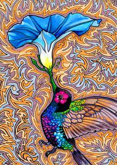 holy hummingbird - paintmyworldrainbow #ART #BIRD #FLOWER #HUMMINGBIRD