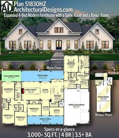 house plans Architectural Designs Modern Farmhouse Plan gives you 4 bedrooms, baths 4 Bedroom House Plans, Family House Plans, Ranch House Plans, New House Plans, Dream House Plans, House Floor Plans, My Dream Home, 4000 Sq Ft House Plans, Building Plans