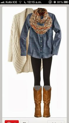 Blue shirt with cream cardigan leggings and scarf
