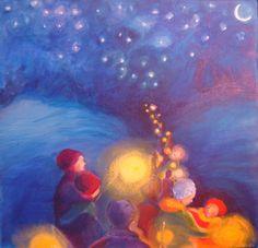 Lantern Walk. Waldorf painting. acrylic on canvas. Yasmeen Amina Olya