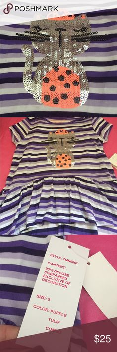 HI LO TOP W CAT Cute shirt w cat made of sequins. Shades of purple. Shirts & Tops Tees - Short Sleeve
