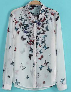 White Long Sleeve Butterfly Print Chiffon Blouse EUR€18.20