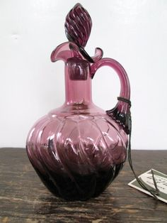 Early Fenton Purple Swirl Cruet with Original Stopper
