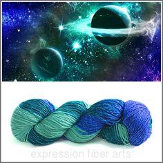GALAXY DUST SPARKLE SILK FINGERING, $35.00 (http://www.expressionfiberarts.com/products/galaxy-dust-sparkle-silk-fingering.html)