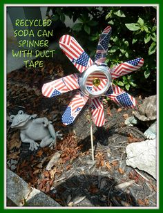 Make it easy crafts: Recycled soda can spinner with duct tape