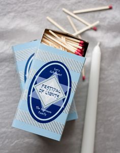 Personalized Hanukkah Matchboxes from Evermine blog #hanukkah #gift #handmade #craft #label #menorah