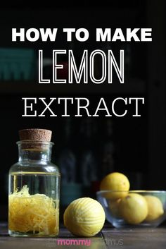 Extract How to make lemon extract to flavor lemon sugar cookies, poppyseed muffins, lemon mousse and more.How to make lemon extract to flavor lemon sugar cookies, poppyseed muffins, lemon mousse and more. Lemon Recipes, Real Food Recipes, Do It Yourself Food, Lemon Extract, Homemade Spices, Homemade Food, Spice Mixes, Canning Recipes, Baking Tips