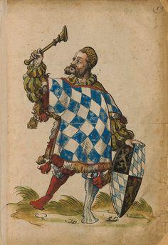 «Bayern? Herold». Faszikel VIII: Wappenherolde der süddeutschen Länder (215r) -- «Sammelband mehrerer Wappenbücher», Augsburg? (Süddeutschland), um 1530 [BSB Cod.icon 391].