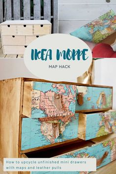 How to give some unfinished IKEA Moppe mini drawers stylish travel themed upcycle using map decoupage and scrap leather pulls. Scrap Wood Projects, Diy Furniture Projects, Diy Projects, Furniture Makeover, Map Crafts, Hacks Diy, Ikea Hacks, Colorful Furniture, Craft Tutorials