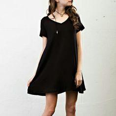 boyfriend tee v-neck shirt dress boyfriend tee v-neck shirt dress black 96% rayon 4% spandex Brand new and unused retail merchandise April Spirit Dresses