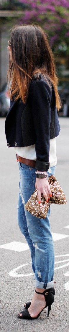 Sequin clutch and rolled denim