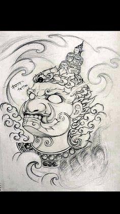Tattoo Sketches, Tattoo Drawings, Body Art Tattoos, Sleeve Tattoos, Khmer Tattoo, Thai Tattoo, Hanuman Tattoo, Japanese Mask Tattoo, Samurai Artwork