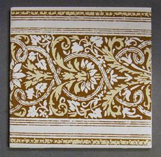 """¤ H & R Johnson screen printed dust-pressed tile, neo-classical stylized floral border design, 6"""" square, 1956"""