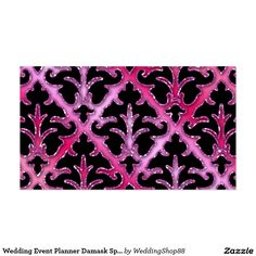 Wedding Event Planner Damask Sparkle Pink Silver