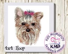 Excited to share this item from my shop: Embroidery Sketch Yorkie Dog: Size 4x4, Instant Download, KMDemb Machine Embroidery Design #etsy