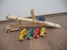 Hailey the car hauler a wooden toy truck with movable ramps