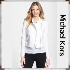 "NWT Michael Kors White Moto Jacket 6 Gorgeous NWT Michael Kors Tweed and plain cotton Moto jacket. Has a nice rich look about it. Fully lined. Gold tone embellishments. Zip fastening. Single breasted. Long -sleeved. 100% Cotton.  Originally 225$ plus tax. HP x2.  NEW WITH TAGS ATTATCHED. Exquisite.  17"" across under arm to under arm flat lay. Approximately 19.5"" at lowest shoulder top to front bottom . shoulder top by collar is 21"" Michael Kors Jackets & Coats"
