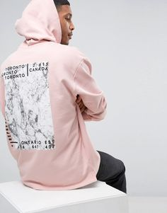 Image 1 of ASOS Oversized Longline Hoodie With Marble Back Print