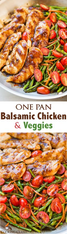 One Pan Balsamic Chicken and Veggies - this is seriously easy to make and it tastes AMAZING! Had it ready in 20 minutes!