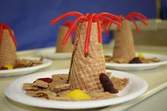 Dino Summer Camp Snack: Twizzlers, ice cream cone, chex cereal & gummy dinosaurs!