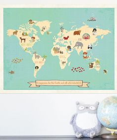 """Compassion World Map Print - adorable for a baby's room. The bottom says """"Compassion for the world and all who inhabit it."""" LOVE"""