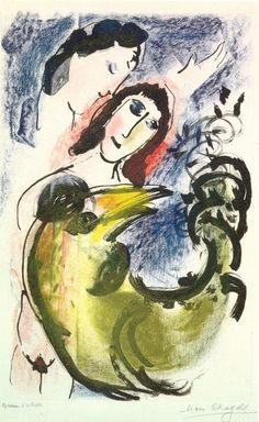 """The yellow rooster - Marc Chagall, 1960 artworks tagged """"hens"""" - WikiArt.org"""