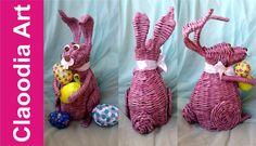 Królik, zając z papierowej wikliny [rabbit, bunny, wicker paper, Easter decorations]