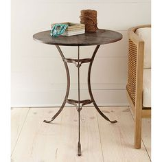 "Rusted Iron Bistro Table | Garden Furniture 24.5""x28.5""h.  Bedside table or in living/media rm. $179"