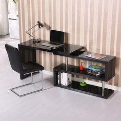 Image for High Gloss Computer PC Desk Storage Display Shelf Wooden Bookcase Divider Black from SHOP.CA