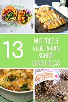 Do you get stuck on what to give your child for school lunch everyday? So I gathered a mix of 13 great nut free vegetarian school lunch ideas. Vegetarian Lunch, Vegetarian Recipes, Healthy Recipes, Vegetarian Dinners, Delicious Recipes, Easy Recipes, Healthy Food, Family Meals, Kids Meals