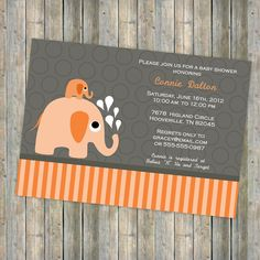 orange gender neutral baby shower invitation, Elephants, digital, printable file (any colors). $13.00, via Etsy.