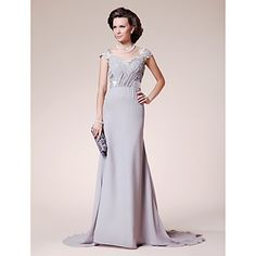 A-line+Straps+Court+Train+Chiffon+Lace+Mother+of+the+Bride+Dress+–+AUD+$+116.87