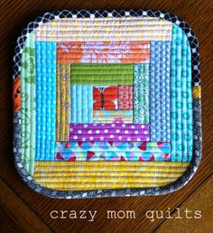 crazy mom quilts - quilt as you go pot holder from craftsy class