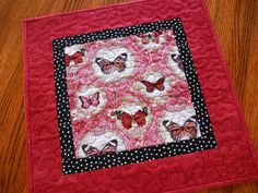 Butterfly Table Topper in Red Black and White by susiquilts