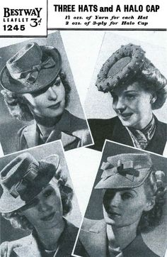 Vintage Ladies Hats in 3 Styles and a Cap by LittleJohn2003