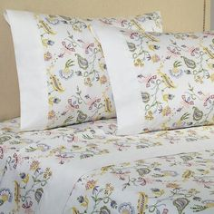Down Town Company Downtown Company Madelyn Floral King Sheet Set Bed Cover Design, Designer Bed Sheets, Paisley Bedding, Striped Bedding, Cotton Bedding Sets, Quilted Pillow Shams, Linen Bedroom, Bed Covers, Soft Furnishings