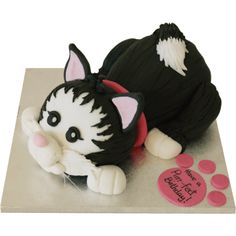 Free UK delivery on all cakes with each cake handmade to order. Book your Cat Cake easily online or call us on 01753 374 726 Birthday Cake For Cat, Teddy Bear Birthday, Birthday Cakes, Chocolate Sponge, Chocolate Flavors, Kitten Cake, Marzipan Cake, Halloween Themed Food, Cake Sizes