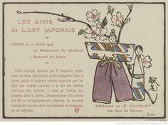 Les amis de l'art japonais. Dîner le 11 Avril 1908 au Restaurant du Cardinal 1, Boulevard des Italiens : [carton d'invitation, estampe] / 駿尾 [Shunbi Noguchi]