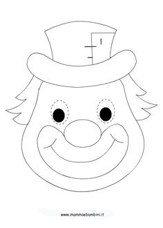 Masque simple ou bricolage avec tous les gabarits sur le site! Clown Crafts, Carnival Crafts, K Crafts, Preschool Crafts, Crafts For Kids, Circus Birthday, Circus Theme, Circus Party, Drawing For Kids