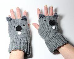 Koala Fingerless Gloves Crochet Animal Mitts Gray by MsAmandaJayne, $35.00