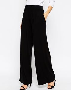 Image 4 of ASOS Wide Leg Trousers in Jersey