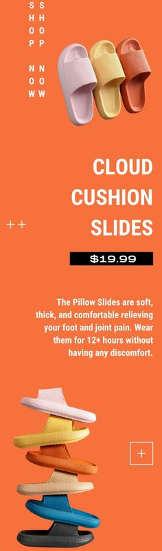 The Pillow Slides are soft, thick, and comfortable relieving your foot and joint pain. Wear them for 12+ hours without having any discomfort. Currently 60%OFF with Free Shipping!! Only on neulons.com Cloud Cushion, Anti Chafing, Sore Feet, Take Off Your Shoes, Slip And Fall, Foot Pain, Spring Sale, Walk On, Quick Dry
