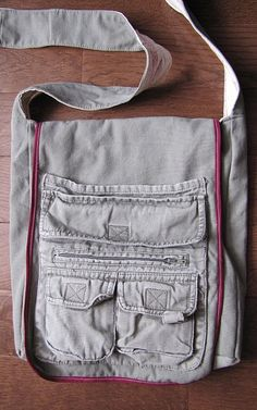 Cute messenger bag from cargo pants!