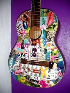 Acoustic guitar decoupage - gift idea for Chris or Derek Ukulele Art, Guitar Art, Guitar Stickers, Acoustic Guitar Case, Stratocaster Guitar, Bottle Crafts, Pop Art, Arts And Crafts, Diy Crafts