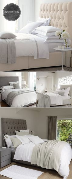 Neutral bedrooms with Textured Throws and Upholstered Headboard Dream Bedroom, Home Bedroom, Bedroom Decor, Bedroom Ideas, Master Bedrooms, Bedroom Inspo, Master Suite, Bedroom Furniture, White Headboard