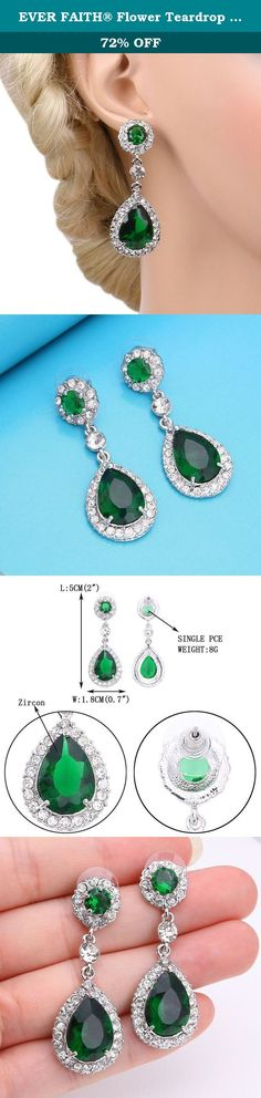 EVER FAITH® Flower Teardrop Dangle Earrings Austrian Crystal CZ Green Emerald-color May Birthstone. This fabulous jewelry is made of cubic zirconias and small crystals, making you feel more ladylike.Sparkle under lights, telling its quality to everybody. Ever Faith As a company that concentrates on fashion jewelry, we already have about 10 years experience on fashion jewelry trend. We work magic on jewelry, keep on new designs and to a leader of beauty and style is our goal. We have over...