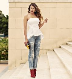 architectural peplum top with jeans