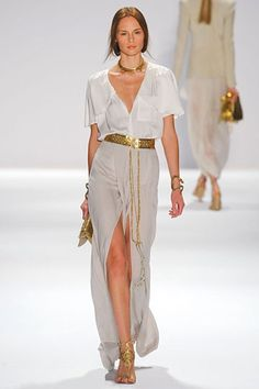 Safari Glam. Gold Belt + Button Down White Top + Long Khaki Skirt with Slit.