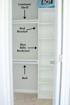 Easy DIY Custom Closet: Budget Ikea Hack - Home and Hallow Source by closets Closet Ikea, Closet Bedroom, Ikea Closet Shelves, Ikea Shelf Hack, Ikea Hack Bathroom, Ikea Closet System, Ikea Pax Hack, Small Master Closet, Ikea Billy Bookcase Hack
