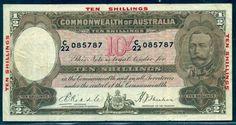 AUSTRALIA 10/ R10 RIDDLE SHEEHAN COMMONWEALTH BANK 1934 gVF/VF FRESH CRISPY RRRR